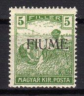 Italia Regno Fiume 1918 Francobollo Di Ungheria Soprastampato 5 Filler MNH - 8. Ocupación 1ra Guerra