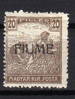 Italia Regno Fiume 1918 Francobollo Di Ungheria Soprastampato 20 Filler MNH - Fiume