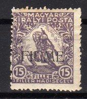 Italia Regno Fiume 1918 Francobollo Di Ungheria Soprastampato 15 Filler MLH Beneficenza Di Guerra - 8. WW I Occupation