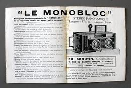 """Dépliant Tarif  Pour """"Le Monobloc"""" De CH BROUTIN Appareils Photo Et Accessoires En 1936 - Appareils Photo"""