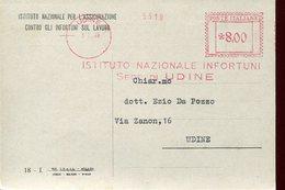 35005 Italia, Red Meter/freistempel/ema/1948 Udine, Istituto Nazionale Infortuni Udine, - Poststempel - Freistempel