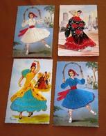 LOT 4 Cartes Postales BRODEES ESPAGNE - Espagne