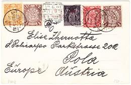 1901 Ansichtskarte Von Shanghai Nach Pola Österreich,  4 Farben Frankatur  + Französische Post In China Marke - Chine