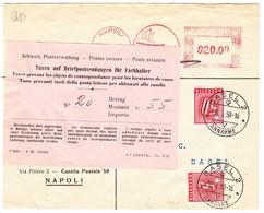 1950 Postautomatisation Reklame Maschinenstempel Auf Brief Von Napoli Nach Basel, Schweizer Taxmarken Mit Avis Zettel - 1946-60: Usados