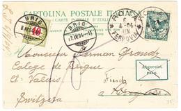 1904 Ansichtskarte Aus Roma Nach Brig-Fiesch Wallis, Mit Schweizer Nachportomarke 10 Rappen - 1900-44 Victor Emmanuel III.