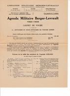 Document D'informations 4 Pages Agenda Militaire Berger-Levraut 1922-1923 - Books
