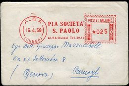 35030  Italia, Red Meter/freistempel/ema/1958 Alba  Pia Società San Paolo, Alba Cuneo - Marcophilie - EMA (Empreintes Machines)