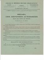 Feuillet Souscription Berger-Levraut : Recueil Des Dépenses Autorisées Dans Les Corps De Troupe, 1922 - Books