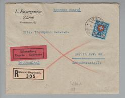 Schweiz 1929-07-10 Zürich R-Expressbrief Mit Einzelfrankatur Nach Berlin Zu#165 - Suisse