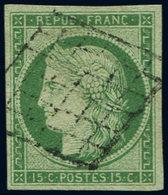 EMISSION DE 1849 - 2    15c. Vert, Très Belles Marges, Obl. GRILLE Légère, TTB. C - 1849-1850 Ceres