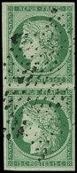 EMISSION DE 1849 - 2    15c. Vert, PAIRE Obl. ETOILE, RR En Paire, TTB - 1849-1850 Ceres