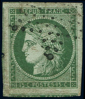 EMISSION DE 1849 - 2b   15c. Vert FONCE, Grandes Marges, 2 Voisins Et Une Amorce, Obl. Etoile, Superbe - 1849-1850 Ceres