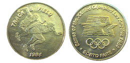 03875 GETTONE JETON TOKEN TRASPORTO TRANSIT GAMES OF THE XXIIIrd OLYMPIAD LOS ANGELES 1984 SCRTD FARE TRACK & FIELD - USA