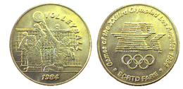 03878 GETTONE JETON TOKEN TRASPORTO TRANSIT GAMES OF THE XXIIIrd OLYMPIAD LOS ANGELES 1984 SCRTD FARE VOLLEYBALL - USA