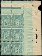 ** TYPE SAGE - 75    5c. Vert, BLOC De 6 Cdf, Bon Centrage, TTB - 1876-1878 Sage (Type I)