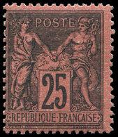 ** TYPE SAGE - 91   25c. Noir Sur Rouge, Très Frais, TB, Certif. JF Brun - 1876-1878 Sage (Type I)