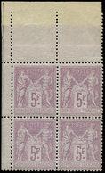 ** TYPE SAGE - 95    5f. Violet Sur Lilas, BLOC De 4 Cdf, Très Bon Centrage, Superbe - 1876-1878 Sage (Type I)