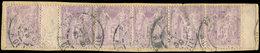 TYPE SAGE - 95    5f. Violet Sur Lilas, BANDE De 6 Interp. Bdf, Obl. S. Fragt, TB, Cote Cérès - 1876-1878 Sage (Type I)