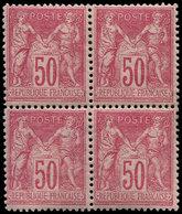 ** TYPE SAGE - 98   50c. Rose, BLOC De 4, Bon Centrage, Frais Et TB - 1876-1878 Sage (Type I)