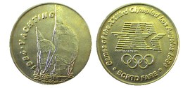03891 GETTONE JETON TOKEN TRASPORTO TRANSIT GAMES OF THE XXIIIrd OLYMPIAD LOS ANGELES 1984 SCRTD FARE YACHTING - USA
