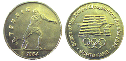 03893 GETTONE JETON TOKEN TRASPORTO TRANSIT GAMES OF THE XXIIIrd OLYMPIAD LOS ANGELES 1984 SCRTD FARE TENNIS - USA