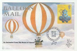 1990 House Of Questa STAMP WORLD LONDON SOUVENIR CARD Philatelic Exhibition BALLOON Pic Ballooning Stamps Gb Cover - Esposizioni Filateliche