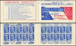CARNETS (N°Cérès Jusqu'en1964) - 255  Gandon, 15f. Bleu, N°886A, T II, S. 8, LOTERIE NATIONALE/EU Broch. 70201, Un Ex. A - Libretas