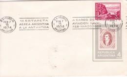 SOBRE ENVELOPE. BANDELETA PARLANTE:1RA ESTAFETA AEREA ARGENTINA A LA ANTARTIDA 1974- BLEUP - Polar Philately