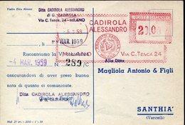 35040  Italia, Red Meter/freistempel/ema/1959 Milano,caldirola Diamant, Diamonds,diamanten, Geology ! - Machine Stamps (ATM)