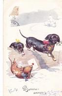 CHIEN  DOG Dackel Teckel  Dachshund  Basset Bassotto K.Feiertag Old Postcard - Chiens