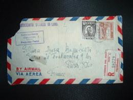 LR Par Avion Pour La FRANCE TP 1S +50c  OBL.DIC 13 1961 LIMA +arrivée 19-12 1951 PARIS XX DISTRIBUTION+ AMBASSADE ITALIE - Peru