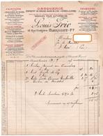 FACTURE LOUIS FRIES Droguerie *PEINTURE *COLLES FORTES *TEINTURE *ESSENCES *ACIDES Saint-Cérè Clermont-Ferrand  1917 317 - Chemist's (drugstore) & Perfumery