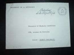 LETTRE PRESIDENCE DE LA REPUBLIQUE OBL.MEC.11-1 1979 PRESIDENCE REPUBLIQUE PARIS Président De La République - Maschinenstempel (Werbestempel)