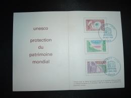 ENCART N°835 UNESCO PROTECTION DU PATRIMOINE MONDIAL TP 2,00 + 1,40 + 1,20 OBL. BLEUE 15 NOV. 1980 PARIS UNESCO PREMIER - Lettres & Documents