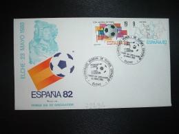 LETTRE TP ESPAGNE 19P + 8P OBL.23 MAYO 1980 FDC ELCHE CAMPEONATO MONDIAL DE FUTBOL ESPANA 82 - Coupe Du Monde