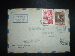 LETTRE Par Avion Pour La FRANCE TP 1P + 40K OBL.29 12 56 MOCKBA + AMBASSADE DE MEXICO MOSCOU - 1923-1991 URSS