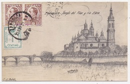 CPA ESPAGNE ZARAGOZA ILLUSTRATION Templo Del Pilar Y Rio Ebro - Zaragoza