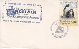 100 AÑOS REVISTA FILATELICA ARG. MUESTRA NAC LITERATURA LITFIL. ISLAS MALVINAS STAMPS FALKLANDS 1994.- BLEUP - Falkland Islands