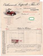 FACTURE ETABLISSEMENTS LAPORTE & FILS & Cie Carrosseries Et Automobilles *1 TIMBRE FISCAL Toulouse Béziers MARS 1917 319 - Cars