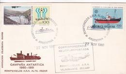 CAMPAÑA ANTARTICA 1980/1981. ROMPELHIELOS ARA ALTE IRIZAR. SOBRE HELITRANSPORTADO CIRCA1980.- BLEUP - Polar Philately