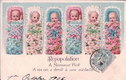 Repopulation, A Mr Piot, A Six On A Droit à Une Médaille, Bébés Et Fleurs, Litho Gaufrée (1424) - Cartes Humoristiques