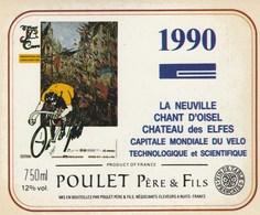 Etiquette (94x113) 1990 - Cyclisme -La Neuville Chant D'oisel - POULET à NUITS (21) - Cycling