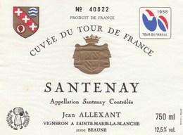 Etiquette (88x120) 1988 - Cyclisme -cuvée Du Tour De France -  Santenay (21) Allexant - Cycling