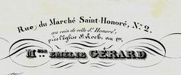 1837 FACTURE PARIS  Mlle  Emelie GÉRARD TAPISSERIE RUE DU MARCHÉ ST. HONORÉ DOCUMENT EN BONNE CONDITION VOIR SCANS - 1800 – 1899
