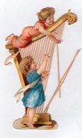 Chromo Decoupi Ange Enfant Avec Harpe Instrument Musique - Children
