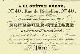 1831  FACTURE PARIS « A LA GUÊTRE ROUGE »  GUÊTRIER BREVETÉ, RUE DE RICHELIEU VOIR SCANS - 1800 – 1899