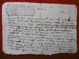 GENERALITE DE TOULOUSE MANUSCRIT AUTOGRAPHE 1696 Recto Verso - Cachets Généralité