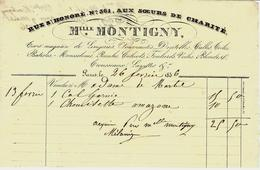 """1836 FACTURE PARIS MELLE MONTIGNY RUE ST Honoré  """"Aux Soeurs De Charité"""" LINGERIE NOUVEAUTES DENTELLES ETC VOIR SCANS - 1800 – 1899"""