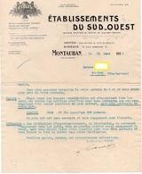DOCUMENT COMMERCIAL ETABLISSEMENTS DU SUD-OUEST EDSO *Pates Alimentaires *Semoules *Tapioca St-JORY MONTAUBAN 1915  321 - Food