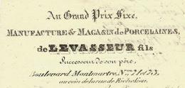 """1830  FACTURE PARIS """"Au Grand Prix Fixe»  LEVASSEUR  Fils MANUFACTURE PORCELAINES BOULEVARD MONTMARTRE VOIR SCANS - 1800 – 1899"""